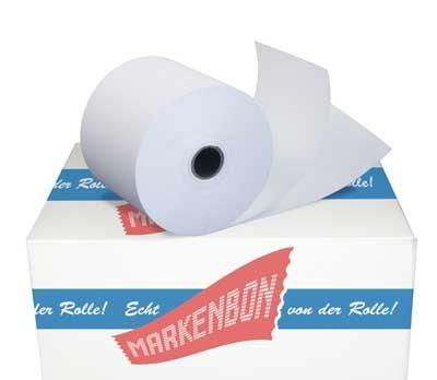 Papierrollen zweilagig weiß / weiß 57/25/12 Bonrollen holzfrei [25m]